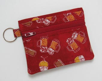 Bifold Keychain Wallet with Zipper Coin Pocket and Credit Card/Cash Pockets in Fun Beer Themed Fabric, Red Background - One of a Kind!