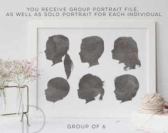 Child Silhouette - Group of 6 - Watercolor Silhouette - custom silhouette - family Silhouettes - DIGITAL PRINTABLE