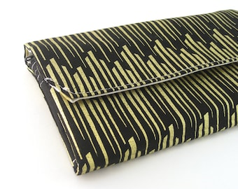 Womens Wallet | Bifold wallet | Fabric Wallet- Reispeices | Black and Gold
