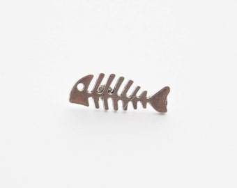 Fishbone Pin, Fish Skeleton Pin, Fishbone Lapel Pin, Fishing Pin, Fish Pin, Fish Tie Pin, Fish Tie Clip, Fisherman Gift, Fishing gifts