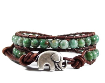 Leather Wrap Bracelet African Jade Gemstones Elephant Button Beaded Jewelry
