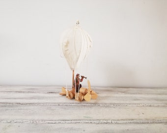 Vintage hot air balloon miniature, wood and canvas hot air balloon toy, natural wood, hot air vehicle with retro traveller, early eighties