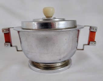 Art Deco Chrome And Bakelite Covered Sugar Bowl.  1930's Art Deco Sugar Bowl. Collectable Art Deco.  Sugar Bowl with Lid.
