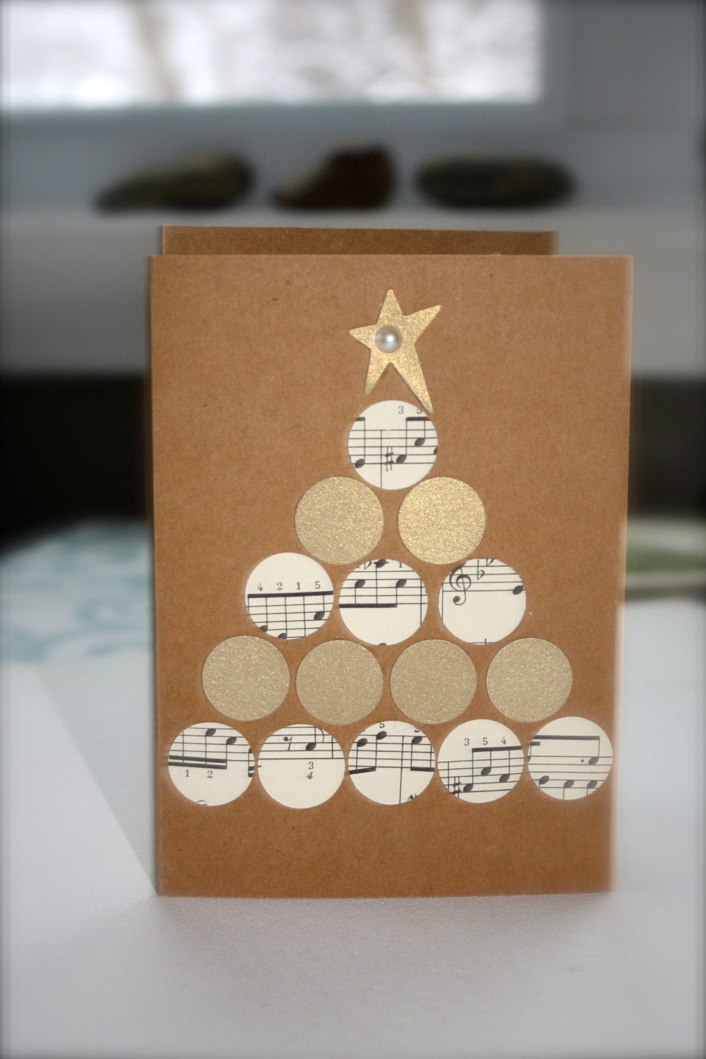 Recycled Paper Christmas Card Greeting Card Star Tree Handmade