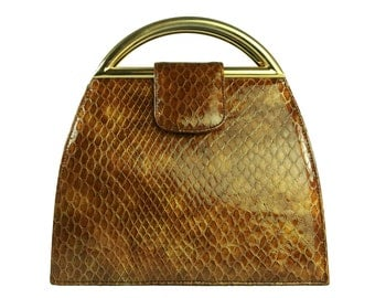 Vintage STUART WEITZMAN Embossed Snakeskin Caramel-Color Handbag