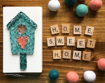 MADE TO ORDER String Art Mini Birdhouse Sign