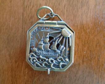 Vintage Brass Sun Dial Pendant