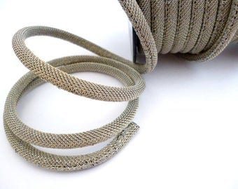 6 mm 5 meters _Gray/Golden  Fabric Cord_CPCA0645413841_Cords_ Metalic_of 6 mm_ 16 ft