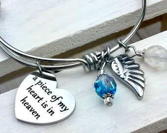 A piece of my heart is in heaven expandable bangle charm bracelet