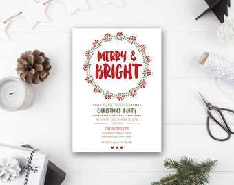 INSTANT DOWNLOAD holiday party invitation / Christmas party invitation / modern Christmas invite / bright Christmas invite