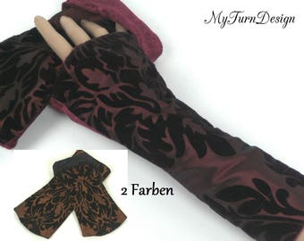 Leg warmers, arm warmers, gloves, taffeta cuffs, Velvet gauntlets, gloves, Baroque, wrist warmers, ornaments, stretchy, red, Brown, velvet, taffeta