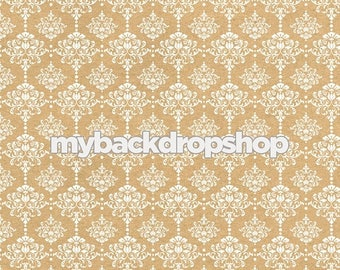 7ft x 7ft Beige Damask Wallpaper Photo Prop - Tan Damask Patterned Photography Backdrop - Neutral Wedding Photography Prop - Item 3218