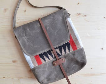 Waxed Canvas, Pendleton® Wool, and Leather Crossbody Purse
