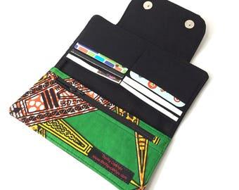 womens credit card holder for women, womens wallet slim womens wallet, womens wallet with coin purse, thin wallet, slim Ankara African
