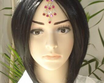 Gold Tikka - Pink Rhinestone Crystal Bollywood Jewelry - Tribal Hair Chain tikkas  - Bellydance