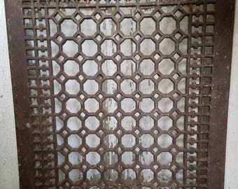 Vintage Large 16x20 Heating Vent Iron Grate Very Ornate Architectural Decor