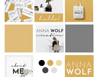 BRAND KIT - Logos, business cards, Patterns, buttons, Social Media Post Templates - DIY Branding Kit Anna Wolf