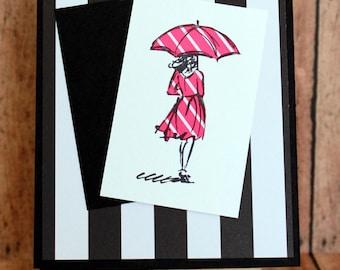 Handmade Card/Stamped/Blank Inside/Lady