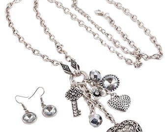 Crystal heart charm pendant antique silver colour long fitting necklace and earrings jewellery set
