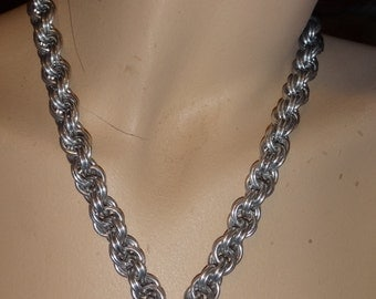 Silver spiral chainmaile necklace with glas owl /moon pendant gothic steampunk cosplay punk