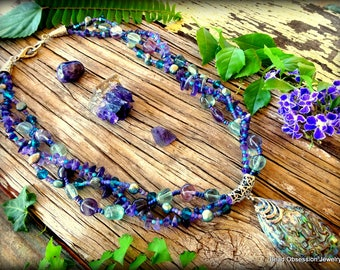 Paua Shell Necklace; Multi-Stand Necklace; Fluorite Necklace; Amethyst Necklace; Purple Boho Necklace; Hippie Necklace; Australian Seller