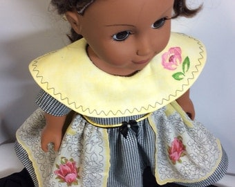 18 inch doll dress features vintage hankie