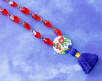 Royal Blue and Red Vintage Tin Red Flower Tassel Necklace with Red Glass Beads and Antique Brass Chain, Royal Blue Tassel Necklace