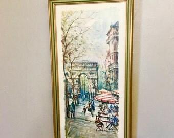 Midcentury Framed Print  Street Scape, Paris , L'  Arc De Triumphe, Artist De Larue
