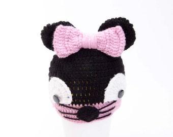 Crochet mouse girl Baby Hat, Toddler hat ,children hat ,Newborn hat ,toddler crochet hat ,baby hat