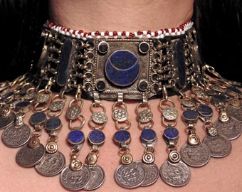 4744- Beautiful Vintage Style Lapis Kuchi Choker Excellent Condition - Belly Dance Ethnic Statement Necklace Boho Gypsy