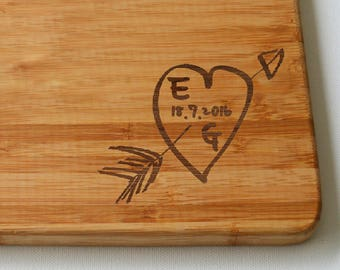 Engraved Heart Large Solid Wooden Chopping Board, Cutting Board, Cheese Board, Wedding Gift, Anniversary Chopping Board
