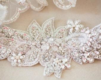 Offwhite Organza Wedding garter, Bridal Garter Set - Style R95