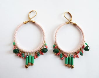 """Pair of Creole """"Acapulco"""" in powder pink cotton, pink and green glass pearls. Creator's jewel"""