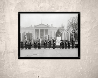 Old Washington DC photo, 1917.Woman suffrage pickets at White House.Women's rights, Feminism, Suffragettes, Dc art print.