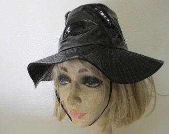 Mod Rain Hat Cap Rain Cap 1970s Rain Hat Black Rain Hat