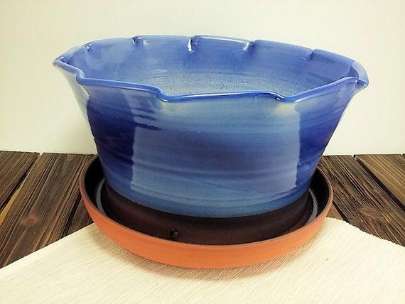 Extra large blue terracotta flower pot glazed ceramic planters plant
