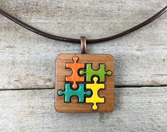 Autism Jewelry-Autism Awareness Pendant-Autism Puzzle Piece Necklace-Autism Art-Art Jewelry-Laser Cut Pendant-Autism Gift