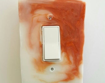 GeometricTrapezoid Switch Plate: Single rocker plate in Sardonyx Orange and White swirl. GFCI GFI paddle switchplate, switch cover