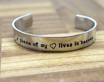 A Piece of My Heart Lives in Heaven / Miscarriage Gift / Custom Hand Stamped Bracelet / Mourning Gift / Loss of a Child / Memorial Jewelry