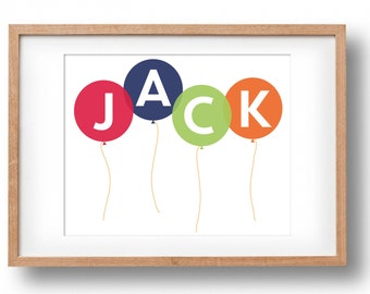 Personalised Name Print | Balloon Print | Custom Name Print | Printable Art | Gift for Girls | Gift for Boys | New Baby Gift | Digital File