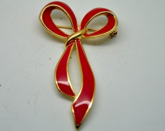 N16: Vintage Red Enamel Christmas Bow pin