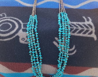 Multi strand women's turquoise necklace