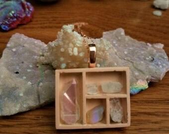 Crystal shelf shadow box necklace Rose Gold