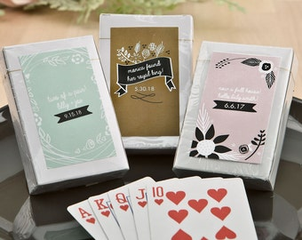 50+ Full Deck of Playing Cards, Playing Crads Wedding Favors, Deck of Cards, Personalized Playing Card Set (6769ST)