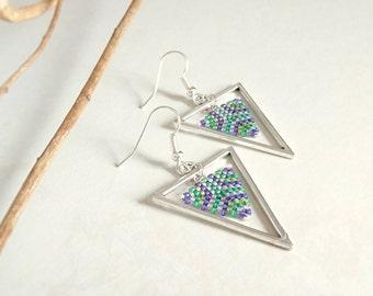 Peyote Triangle Earrings, Silver Triangle, Geometric Earrings, Beaded Earrings, Beadwoven Earrings, Modern Jewelry, Drop Earrings,