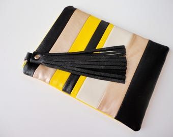 Black leather tassel iPad mini bag, gold black yellow stripes iPad cover, quilted vegan leather zipper tablet case, colorblock reader sleeve
