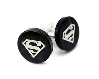 Custom Cufflinks-Superman Cufflink, FREE SHIPPING, damask print on the obsidian stone, gift box included, gift for men, anniversary gift