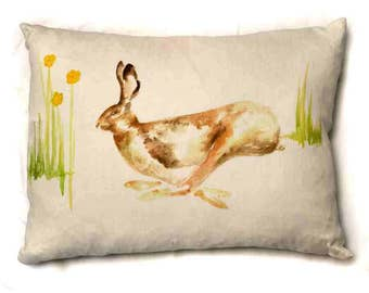 Hare Cushion Pillow Wildlife