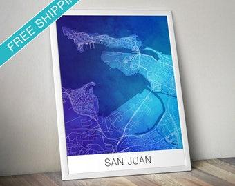 San Juan Map Print - Map Art Poster with Watercolor Background