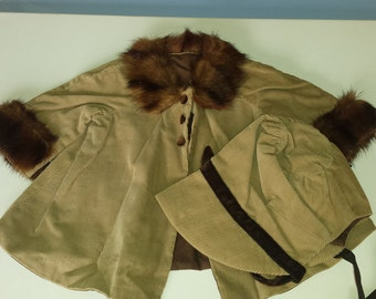 Doll Clothes- Cord Jacket w Mink Trim and  Bonnet